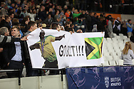 Usain Bolt of Jamaica fans celebrates winning the 100m during the Sainsbury's Anniversary Games at the Queen Elizabeth II Olympic Park, London, United Kingdom on 24 July 2015. Photo by Phil Duncan.