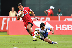 Rio Dyer of Wales  in action<br /> <br /> Photographer Craig Thomas/Replay Images<br /> <br /> World Rugby HSBC World Sevens Series - Day 3 - Saturday 7rd December 2019 - Sevens Stadium - Dubai<br /> <br /> World Copyright © Replay Images . All rights reserved. info@replayimages.co.uk - http://replayimages.co.uk