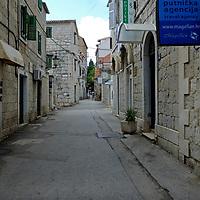 Pedestrian backstreets & shops; <br />Split, Croatia. 2018