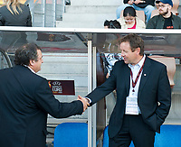 Bruno Bini (left, France coach) and Bjarne Berntsen before the match, Norway - France. WEURO 2009. Helsinki 30.8.2009. Photo: Jussi Eskola. FINLAND OUT.