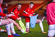 James Coppinger of Doncaster Rovers (26) and Tommy Rowe of Doncaster Rovers (10) warming up during the EFL Sky Bet League 1 match between Doncaster Rovers and Southend United at the Keepmoat Stadium, Doncaster, England on 12 February 2019.