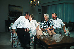 Former first lady Barbara Bush, wife of former President George H.W. Bush and mother of former President George W. Bush, died Tuesday at her home in Houston. She was 92. Barbara Bush had been in failing health, suffering from congestive heart failure and chronic obstructive pulmonary disease. George and Barbara, who celebrated their 73rd wedding anniversary on Jan. 6, hold the record for the longest-married presidential pair. Mrs. Bush was known for her wit and emphasis on family. One of her primary causes was literacy. She founded the Barbara Bush Foundation for Family Literacy in 1989 to carry forth her legacyin the cause for literacy. PICTURED: Pictured: 1985 - President RONALD REAGAN and wife NANCY REAGAN kiss as Vice President GEORGE H. W. BUSH and wife BARBARA BUSH watch with smiles. (Credit Image: Michael Evans/ZUMAPRESS.com)