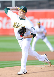May 5, 2018 - Oakland, CA, U.S. - OAKLAND, CA - MAY 05: Oakland Athletics starting pitcher Trevor Cahill (53) pitches during the regular season game between the Oakland Athletics and the Baltimore Orioles on May 5, 2018 at Oakland-Alameda County Coliseum in Oakland,CA (Photo by Samuel Stringer/Icon Sportswire) (Credit Image: © Samuel Stringer/Icon SMI via ZUMA Press)