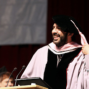 Songwriter and producer Juan Luis Guerra from Dominican Republic, smiles while recive a honorary College's Commencement, 2009
