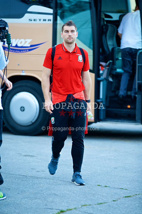 BELGRADE, SERBIA - Sunday, June 11, 2017: Wales' Sam Vokes arrives before the 2018 FIFA World Cup Qualifying Group D match between Wales and Serbia at the Red Star Stadium. (Pic by David Rawcliffe/Propaganda)