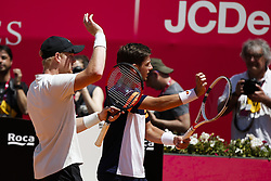 May 6, 2018 - Estoril, Portugal - Kyle Edmund (L) and Cameron Norrie (R)  from Great Britain celebrate their victory against Wesley Koolhof from Netherlands and Kyle Edmund from Great Britain in their Millennium Estoril Open ATP doubles final tennis match in Estoril, near Lisbon, on May 6, 2018. (Credit Image: © Carlos Palma/NurPhoto via ZUMA Press)
