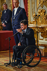 March 27, 2018 - Rome, Italy - Luca Pancalli during ceremony of the return of the Italian flag by the athletes who participated in the Olympics Winter and Paralympic Games of PyeongChang 2018, Rome on march 27, 2018  (Credit Image: © Silvia Lore/NurPhoto via ZUMA Press)