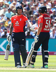 Englands Ben Stokes and Jonny Bairstow fist pump during the Second Vitality IT20 Series Match at the Brightside Ground, Bristol.