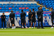 Bournemouth players before the start of the EFL Sky Bet Championship match between Cardiff City and Bournemouth at the Cardiff City Stadium, Cardiff, Wales on 18 September 2021.