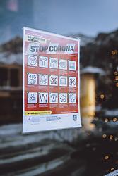 THEMENBILD - Hinweisschild Stop Corona, BAG, aufgenommen am 19. Dezemeber 2020 in Engelberg, Schweiz // Stop Corona sign, BAG in Engelberg, Switzerland on 2020/12/19. EXPA Pictures © 2020, PhotoCredit: EXPA/ JFK