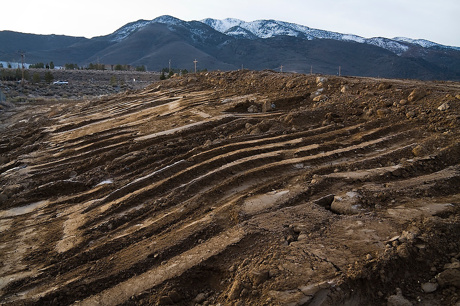The heavily regraded shore of the Truckee River near Reno, Nevada on February 16, 2010. The disrupted ecology of the lower Truckee River is the focus of a nine-year, eight-and-a-half-mile, $20 million restoration effort by the Nature Conservancy.