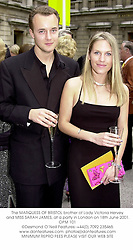 The MARQUESS OF BRISTOL brother of Lady Victoria Hervey and MISS SARAH JAMES, at a party in London on 18th June 2001.	OPM 101