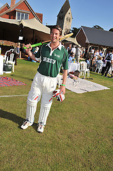 The HON.JAMES TOLLEMACHE at a cricket match to in aid of CARE - Corfu Animal Rescue Establishment held at Hawkley Cricket Club, Hawkley, Hampshire on 8th September 2012.