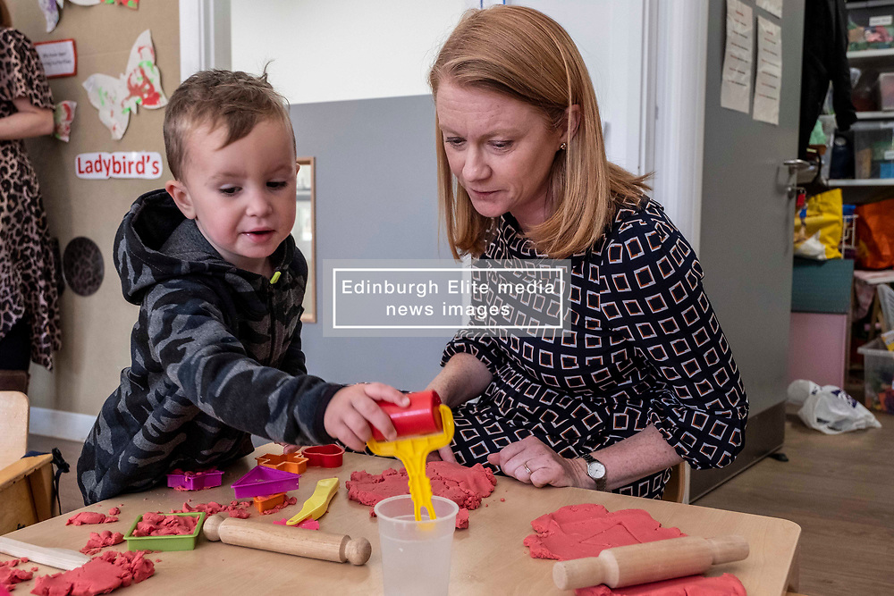 Pictured: Jordan was keen to show Shirley-Ann Somerville how he made a heart<br /> <br /> Today Shirley-Ann Somerville MSP, Cabinet Secretary for Social Security, visited Stepping Stones inn Edinburgh and met parents who may be eligible for the Scottish Child payment, which is a new GBP10-a-week payment for every child aged up to six as part of measures to lift 30,000 children out of poverty.<br /> <br /> Ger Harley   EEm 4 September 2019
