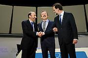 Televisive debate between Mariano Rajoy and Alfredo Perez Rubalcaba.Warm handshake of the tow speakers prior to the debate.