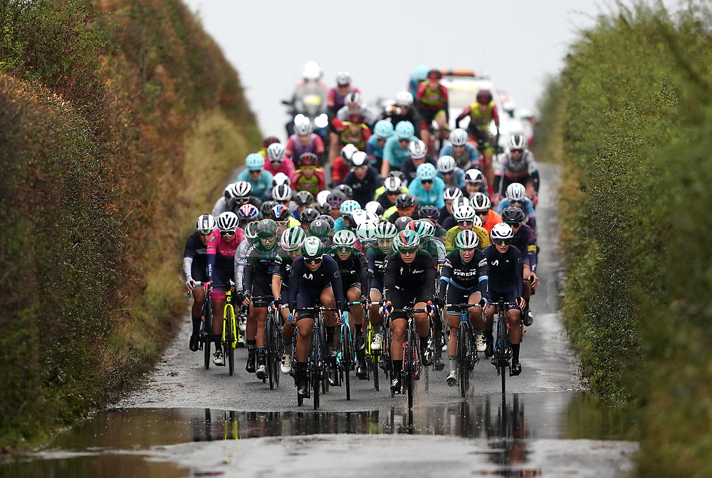 The pelaton during stage two of the AJ Bell Women's Tour in Walsall, UK. Picture date: Tuesday October 5, 2021.
