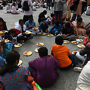 Trafalgar square, 8 August 2021. Hundreds of Hindus believers eating a feast in London Rathayatra 2021, London, UK.