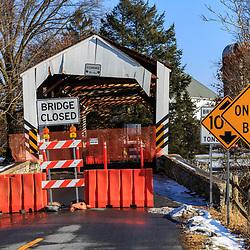 Landisville, PA / USA - January 9, 2018: Schenck's Mill Covered Bridge is closed after being heavily damaged by being struck by an oversized truck.