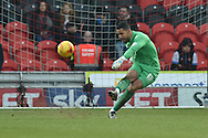 Jordan Archer of Millwall FC takes goal kick during the Sky Bet League 1 match between Doncaster Rovers and Millwall at the Keepmoat Stadium, Doncaster, England on 27 February 2016. Photo by Ian Lyall.