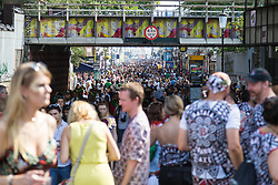 London, August 28 2017. Crowds pack into Portobello Road, the heart of the Notting Hill Carnival, Europe's biggest street party held over two days of the August bank holiday weekend, attracting over a million people. © Paul Davey.
