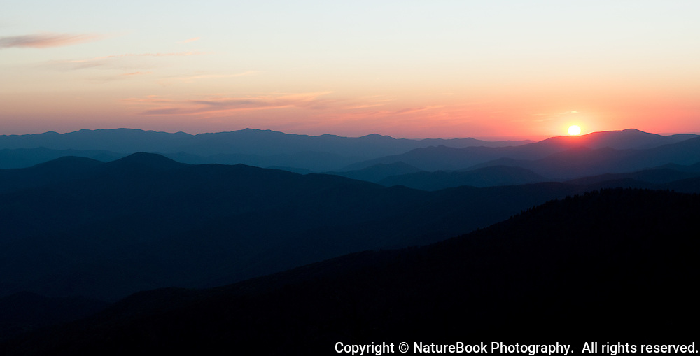 Sunset over the Smokies from Clingmans Dome in Great Smoky Mountains National Park.
