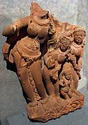 River god (Yamuna?). Post-Gupta period (6th-8th century AD) sandstone sculpture from Madhya Pradesh, India.