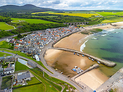 Aerial view from drone of  Cullen on Moray Firth coast in Moray, Scotland, UK