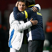 Fenerbahce's coach Aykut Kocaman (R) and Emre Belozoglu (L) during their Turkish SuperLeague Derby match Trabzonspor between Fenerbahce at the Avni Aker Stadium at Trabzon Turkey on Sunday, 17 February 2013. Photo by TURKPIX