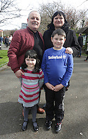 Antoinette and Philip Carberry, from New Ross, with their kids, ruth, 6, and Conor, 12, Carberry, from New Ross in St Stephens green, Dublin as part of RTE's reflecting the rising celebrations. Picture credit; Damien Eagers 28/3/2016