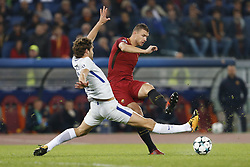 October 31, 2017 - Rome, Italy - Rome, Italy - 31/10/2017..(L-R) Marcos Alonso of Chelsea and Edin Dzeko of Roma fights for the ball during the UEFA Champions League Group C soccer match in Rome..UEFA Champions League Group C soccer match between AS Roma and Chelsea FC at the Olympic stadium in Rome. AS Roma defeating Chelsea FC 3-0. (Credit Image: © Giampiero Sposito/Pacific Press via ZUMA Wire)