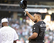 CHICAGO - AUGUST 24:  Jose Abreu #79 of the Chicago White Sox acknowledges the crowd after his 1000th Major League hit against the Texas Rangers during Players Weekend on August 24, 2019 at Guaranteed Rate Field in Chicago, Illinois.  (Photo by Ron Vesely)  Subject:   Jose Abreu