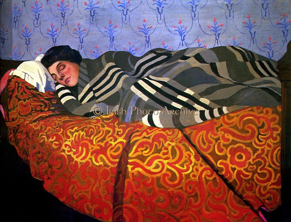 Félix Edouard Vallotton (1865 – 1925) Swiss painter. Femme couchée dormant 1899, (woman sleeping).