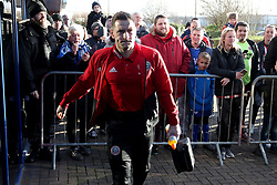 Sheffield United's Billy Sharp arrives at Wigan Athletic's DW stadium