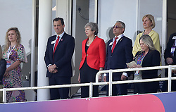British Prime Minister Theresa May in the stands before the ICC Cricket World Cup group stage match at The Oval, London.