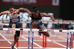 February 7, 2018 - Paris, Ile-de-France, France - From left to right : Loic Desbonnes of France and Jarret Eaton of USA compete in 60m Hurdles during the Athletics Indoor Meeting of Paris 2018, at AccorHotels Arena (Bercy) in Paris, France on February 7, 2018. (Credit Image: © Michel Stoupak/NurPhoto via ZUMA Press)