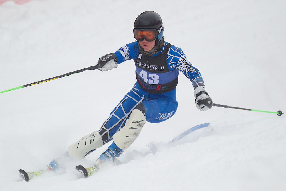 Brittney Ziebell of Colby College, skis during the first run of the women's slalom at Jiminy Peak on February 14, 2014 in Hancock, MA. (Dustin Satloff/EISA)
