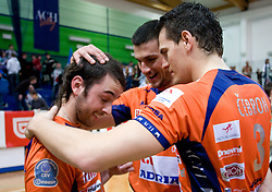 Angel Perez, Mitja Gasparini and Davor Cebron at last final volleyball match of 1.DOL Radenska Classic between OK ACH Volley and Salonit Anhovo, on April 21, 2009, in Arena SGS Radovljica, Slovenia. ACH Volley won the match 3:0 and became Slovenian Champion. (Photo by Vid Ponikvar / Sportida)