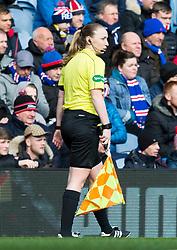 Assistant referee Kylie Cockburn during the Ladbrokes Scottish Premiership match at Ibrox Stadium, Glasgow.