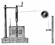 James Prescott Joule's (1818-89) apparatus for determining mechanical equivalent of heat. Vessel of water, oil or mercury encloses vanes attached to spindle. Cord wound round cylinder and drum. Weight descending against scale rotates spindle and vanes. Raising and lowering weight raises temperature of fluid. From rise in temperature and distance travelled energy used can be calculated. Engraving 1872.