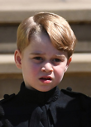 © Licensed to London News Pictures. 19/05/2018. London, UK.  PRINCE GEORGE at the wedding of Prince Harry, The Duke of Sussex and Meghan Markle, The Duchess of Sussex at St George's Chapel in Windsor Castle. Photo credit: LNP