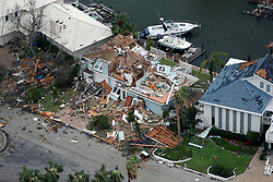 August 27, 2017 - Rockport, Texas, U.S. - Aerial photo of a storm-damaged home in the Key Allegro neighborhood after Hurricane Harvey hit. (Credit Image: © William Luther/San Antonio Express-News via ZUMA Wire)