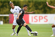 Hawke's Bay United's Ahmed Othman comes under pressure from Auckland City FC's Dré Vollenhoven in the Handa Premiership football match, Hawke's Bay United v Auckland City FC, Bluewater Stadium, Napier, Sunday, January 31, 2021. Copyright photo: Kerry Marshall / www.photosport.nz