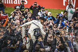 May 13, 2018 - Barcelona, Catalonia, Spain - LEWIS HAMILTON (GBR), Mercedes, celebrates his victory with the waiting crowd at the Spanish GP at Circuit de Barcelona - Catalunya (Credit Image: © Matthias Oesterle via ZUMA Wire)