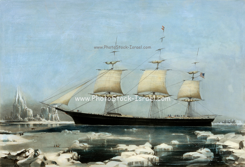 "Clipper Ship ""Red Jacket"": In the Ice off Cape Horn, on Her Passage from Australia, to Liverpool, August 1854. Hand-colored lithograph. Red Jacket was a clipper ship, one of the largest and fastest ever built. She was also the first ship of the White Star Line company. She was named after Sagoyewatha, a famous Seneca Indian chief, called ""Red Jacket"" by settlers. She was designed by Samuel Hartt Pook, built by George Thomas in Rockland, Maine, and launched in 1853, the last ship to be launched from this yard."