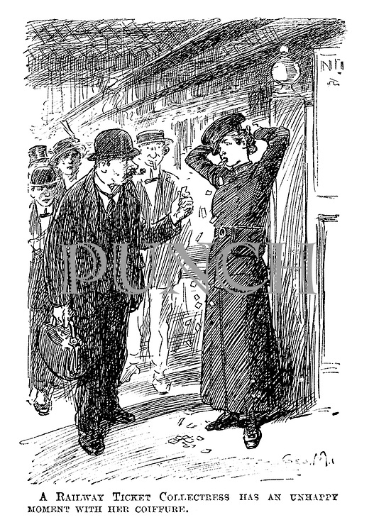 A railway ticket collectress has an unhappy moment with her coiffure.