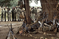 Weapons belonging to the ZIPRA guerrillas seen at Assembly Point Papa, Rhodesia where they surrounded their weapons as part of the Rhodesian Independence deal in 1980. Photograph by Terry Fincher