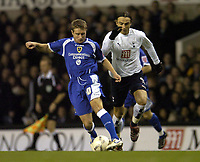 Photo: Olly Greenwood.<br />Tottenham Hotspur v Cardiff City. The FA Cup. 17/01/2007. Tottenham's Ditmar Berbatov tries to get past Cardiff's Stephen McPhail