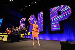 Nicola Sturgeon acknowledging applause after addressing the SNP annual conference in Glasgow. pic copyright Terry Murden @edinburghelitemedia