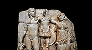 Close up of Roman Sebasteion relief sculpture of emperor Augustus and Goddess Victory, Aphrodisias Museum, Aphrodisias, Turkey.   Against a black background.<br /> <br /> The naked emperor Augustus stands in majesty with the winged goddess Victory(Nike). He carried a spear and has an eagle, the bird representing Zeus, at his feet. Victory is crowning a military trophy - a rough post with enemy armour attached to it. Beneath the trophy is a barbarian captive, his hands tied behind his back. .<br /> <br /> If you prefer to buy from our ALAMY STOCK LIBRARY page at https://www.alamy.com/portfolio/paul-williams-funkystock/greco-roman-sculptures.html . Type -    Aphrodisias     - into LOWER SEARCH WITHIN GALLERY box - Refine search by adding a subject, place, background colour, museum etc.<br /> <br /> Visit our ROMAN WORLD PHOTO COLLECTIONS for more photos to download or buy as wall art prints https://funkystock.photoshelter.com/gallery-collection/The-Romans-Art-Artefacts-Antiquities-Historic-Sites-Pictures-Images/C0000r2uLJJo9_s0