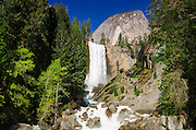Vernal Falls and hikers on the Mist Trail, Yosemite National Park, California USA